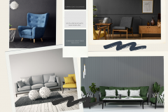 Blue and White Textured Interior Design Mood Board Photo Collage